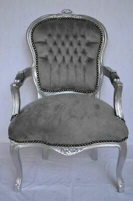 LOUIS XV ARM CHAIR FRENCH STYLE CHAIR VINTAGE FURNITURE grey silver wood