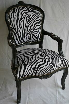 Louis Xv Arm Chair French Style Chair Vintage Furniture Zebre Black Wood