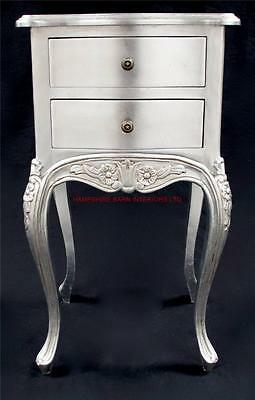 Ornate Two Drawer Lamp Table or Bed Side Unit Silver Leaf Mahogany Free Delivery