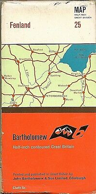 Bartholomews half-inch Map No 25 FENLAND - Cloth -1962