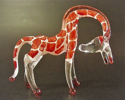 Curio Display Stooping Glass GIRAFFE African Painted Glass Animal Glass Ornament