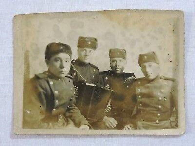 4 red army soldiers with accordion ancient real photo USSR Russia 9x12