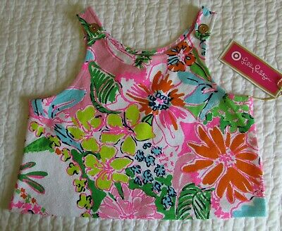 NWT Lilly Pulitzer Target Nosie Posey Floral  Girls L 10/12 Crop Tank Top