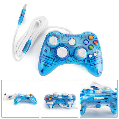 USB Wired Game Remote Controller Gamepad For Microsoft Xbox 360 Windows Blue
