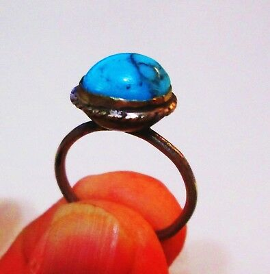 PERSIA: QAJAR era Antique Persian Silver Ring turquoise-like stone!