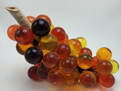Vintage Large Mixed Color Gold Amber Red Purple Acrylic Grape Cluster Unique!