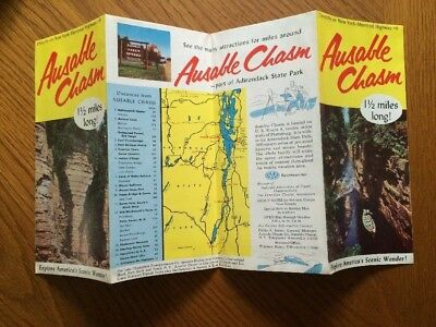 Vintage Ausable Chasm Map Travel Brochure New York Montreal Highway #9