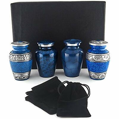 Small Decorative Urns Cremation For Human Ashes By - Blue Mini Keepsake Set Of 4