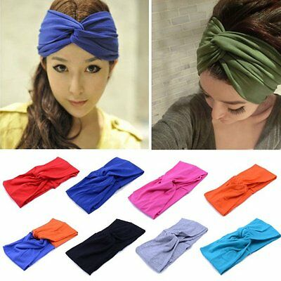 Fashion Womens Turban Head Knot Headband Wrap Twisted Knotted Hair Band UK