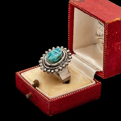 Antique Vintage Deco Sterling 800 Silver Egyptian Revival Faience Bead Ring 5.5
