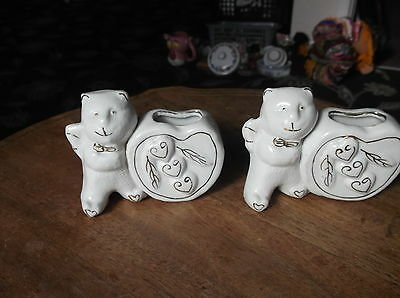 """Pair Of Unusual Gilded Posy Vases Pussy Cats ? Teddy Bears ? Holding Vase 3.5"""""""