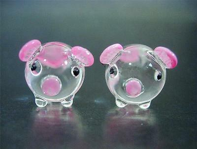 2 Tiny Glass PIGS Pink & Clear Glass Farm Yard Animal Ornaments Miniatures Gift