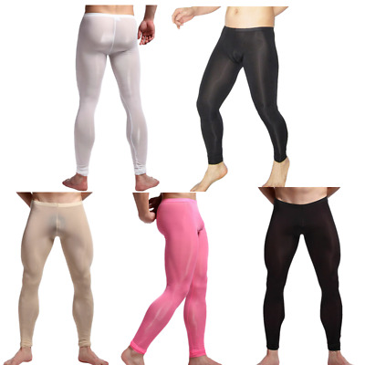 1714b507d502f Sexy Mens Sheer Mesh Leggings Fitness Tight Long Johns Stretch Pants  Underwear
