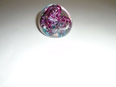 Hand Blown Art Glass Paperweight Purple & Green With Bubbles