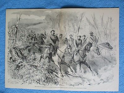 1883 Civil War Print- Confederate Cavalry Scouting Near Frederick City, Maryland