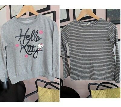 BUNDLE! x2 Girls Striped Green ZARA HELLO KITTY Tops Sweater Sweatshirt 11-13yrs