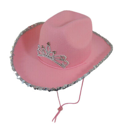 14c160b8 Western Flashing Light Up Cowgirl Tiara LED Rodeo Princess Felt Cowboy Hat  PINK