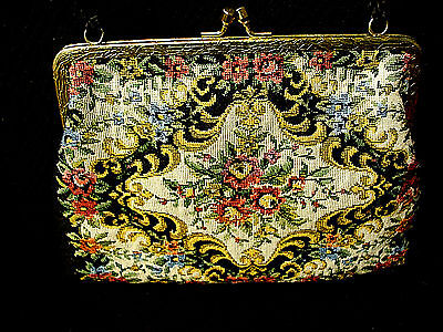 """Vintage Victorian Tapestry Material Ladies Purse Brass Frame 40"""" Strap"""