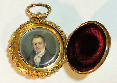 Antique 19th Century VINAIGRETTE Pocket Watch-Form Miniature PORTRAIT PAINTING