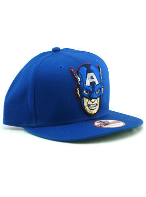 new style 7cddc 1afd2 New Era Captain America 9fifty Snapback Hat Adjustable Marvel Comics Blue  NWT