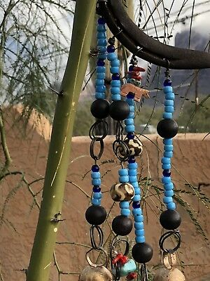 """COUNTRY WESTERN HORSESHOE Wind Chime Cow Bells Turquoise Crow Beads LOTSMORE 21"""""""