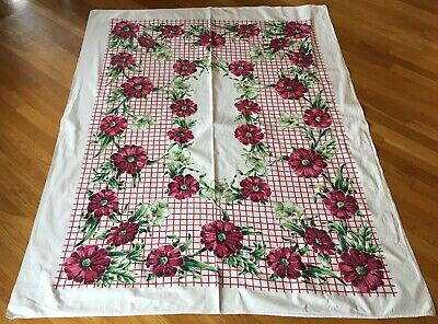 Vtg floral Tablecloth burgundy red wine pink white green  52 x 64 tablecloth