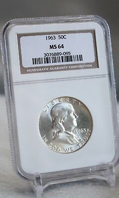 1963 Franklin Half Dollar 50c Silver Graded By NGC MS 64