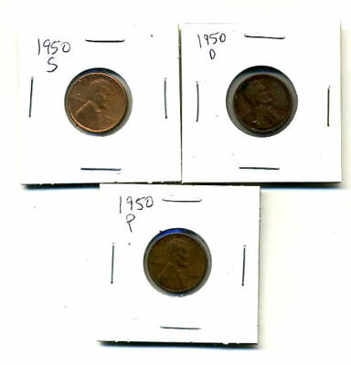 1950 P,d,s Wheat Pennies Lincoln Cents Circulated 2X2 Flips 3 Coin Pds Set#4425