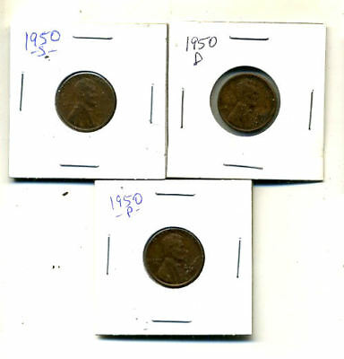 1950 P,d,s Wheat Pennies Lincoln Cents Circulated 2X2 Flips 3 Coin Pds Set#4221