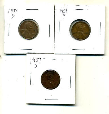 1951 P,d,s Wheat Pennies Lincoln Cents Circulated 2X2 Flips 3 Coin Pds Set#4052