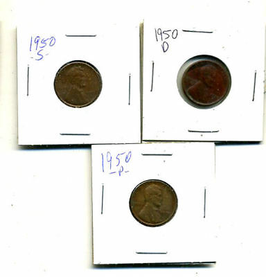 1950 P,d,s Wheat Pennies Lincoln Cents Circulated 2X2 Flips 3 Coin Pds Set#4240