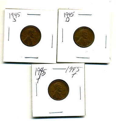 1945 P,d,s Wheat Pennies Lincoln Cents Circulated 2X2 Flips 3 Coin Pds Set#3304
