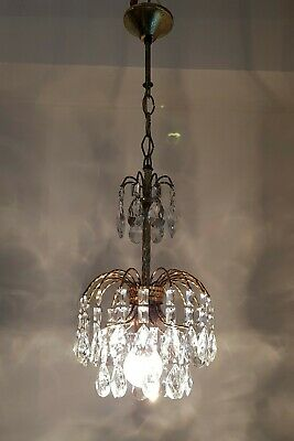 Antique Vintage Brass & Crystals Small Waterfall Chandelier Lighting Lamp