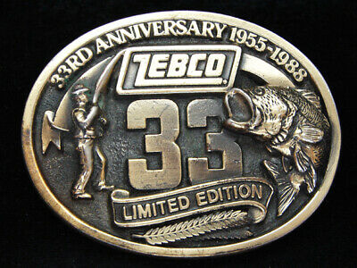 Pa09105 Vintage 1988 **Zebco 33Rd Anniversary Limited Edition** Fishing Buckle