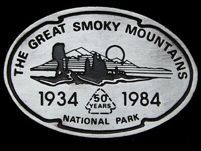 Lg27147 Vintage 1984 **The Great Smoky Mountains Nat'l Park** 50 Years Buckle