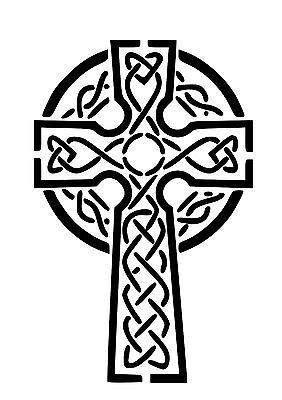 High Detail Celtic Cross Airbrush Stencil - Free UK Postage