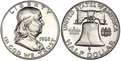 1962 Pr Pf Franklin Half Dollar Proof Gem Bu Uncirculated Silver Coin Mint State