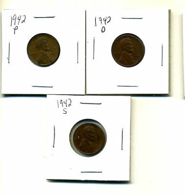 1942 P,d,s Wheat Pennies Lincoln Cents Circulated 2X2 Flips 3 Coin Pds Set#3188