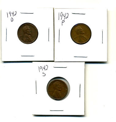 1942 P,d,s Wheat Pennies Lincoln Cents Circulated 2X2 Flips 3 Coin Pds Set#3193