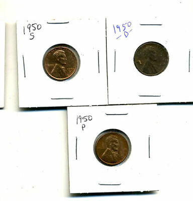 1950 P,d,s Wheat Pennies Lincoln Cents Circulated 2X2 Flips 3 Coin Pds Set#4572