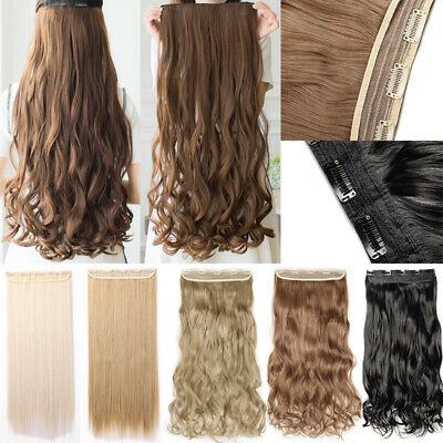 One Piece 5Clips Clip in Hair Extensions Straight Curly Wavy Long Hair Extension