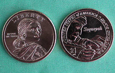 2017 P and D Sacagawea Dollar BU 2 Coins Native American Sequoyah UNCIRCULATED