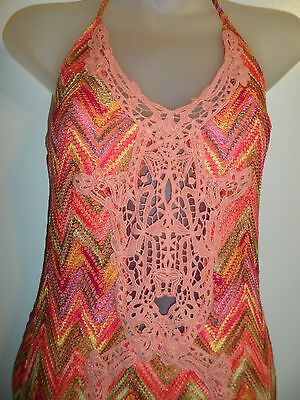 Sky Clothing Brand S Dress Knit Crochet Cutout Bright Rainbow Lace Coral Pink