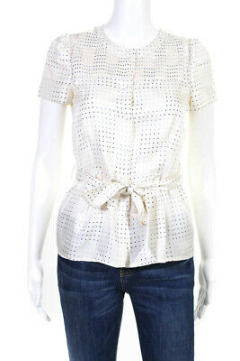 06e186c190543 Marc By Marc Jacobs Womens Belted Crew Neck Polka Dot Blouse Ivory Silk  Size 0