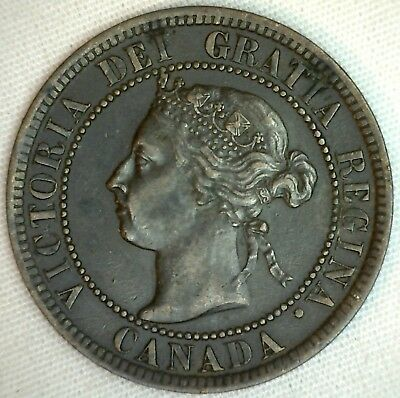 1899 Copper Canadian Large Cent Coin 1-Cent Canada K19