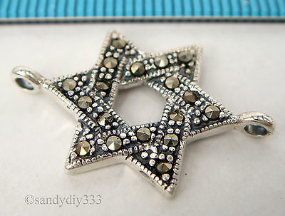 1x OXIDIZED STERLING SILVER MARCASITE STAR CHANDELIER NECKLACE CONNECTOR #1803