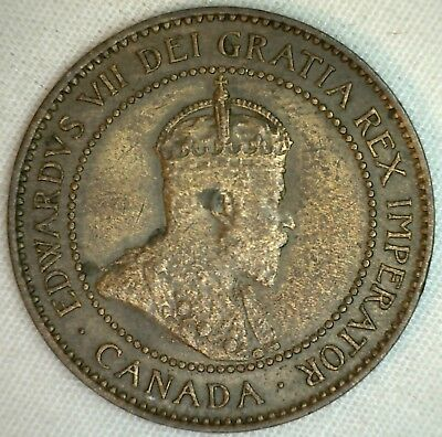1903 Copper Canadian Large Cent Coin 1-Cent Canada XF K4