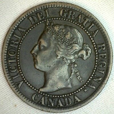 1899 Copper Canadian Large Cent Coin 1-Cent Canada K18