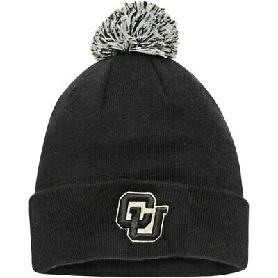separation shoes f7bb9 01385 Top of the World Colorado Buffaloes Black Simple Cuffed Knit Hat with Pom