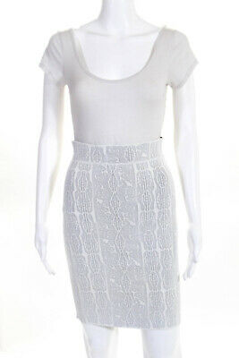 43161b849e BCBG Max Azria Womens Abstract Stretch Knit Pencil Skirt White Size Medium